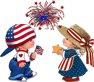 boy and girl celebrates the 4th