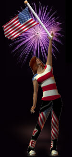 girl holding American flag with fireworks