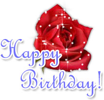 happy birthday rose with stars