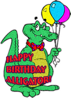 Happy Birthday with balloons and alligator