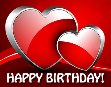 Happy Birthday with red hearts