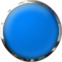 blue glass button with chrome trim