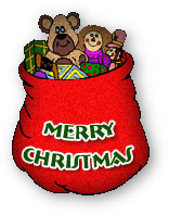 bag of christmas gifts including teddy bear