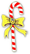 candy cane with smiley face on yellow bow