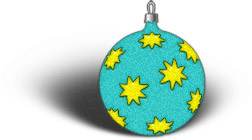 blue ornament with yellow stars