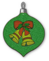 green ornament with Christmas bells