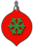 red glass ornament with snowflake