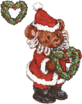Christmas bear with wreaths