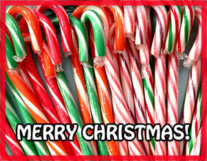 candy canes with Merry Christmas