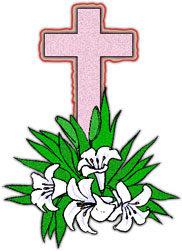 Christian Cross and lilies