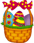brightly colored easter in a basket