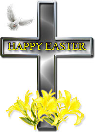 Easter Cross with dove and Easter lilies