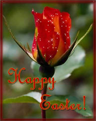 Happy Easter on flower background