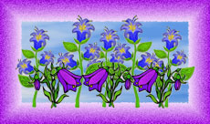 bells blue and bells purple flower graphic