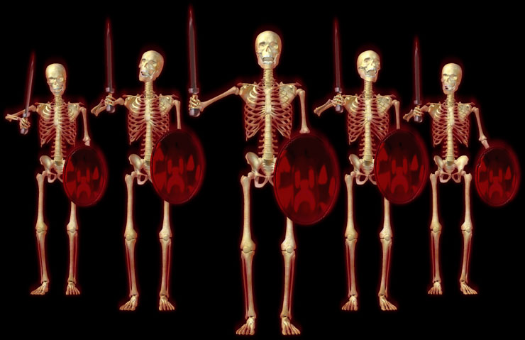 skeletons with swords and shields ready for battle