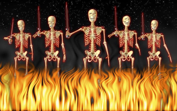 5 skeletons with swords, fire and smoke