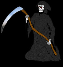 grim reaper on black background