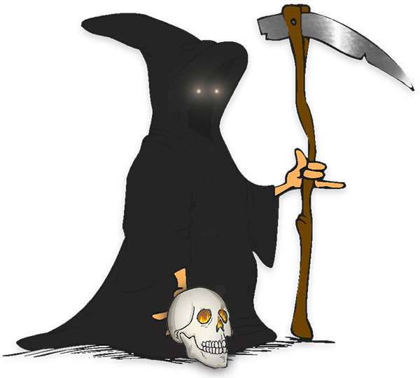 grim reaper with a lost skull and scythe