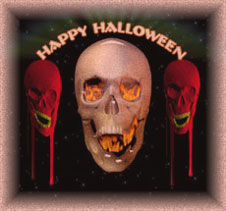happy halloween graphic with 3 skulls
