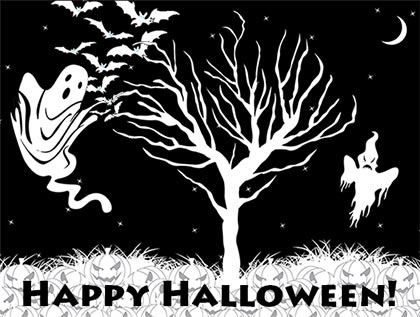 Happy Halloween bats, ghosts