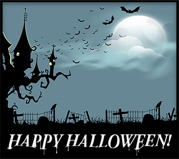 Happy Halloween with haunted house