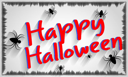 spiders with Happy Halloween