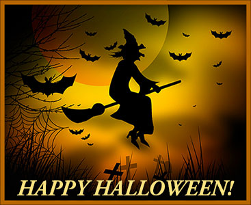 halloween image witch and bats