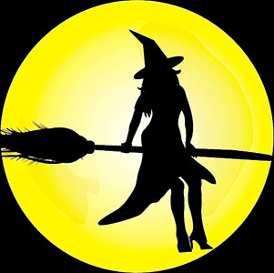 witch on her broom flying