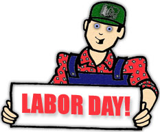worker with a labor day sign