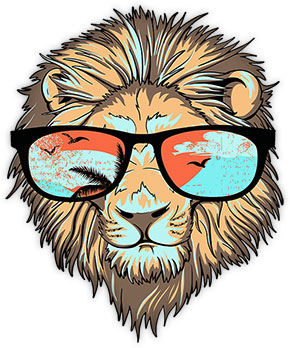cool lion with sunglasses