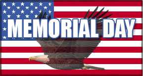Memorial Day on American flag with eagle