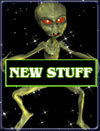 space alien holding new stuff sign