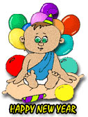 baby new year with balloons and noise makers