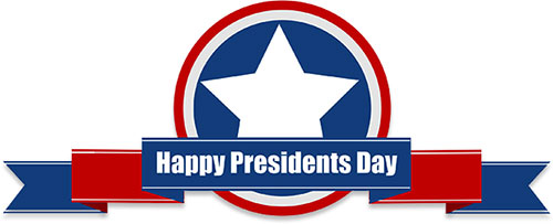 Happy Presidents Day in red, white and blue