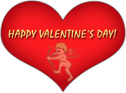 happy valentine's day with cupid